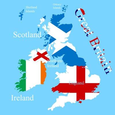 Nálepka Mapa Velká Británie pro každou vlajku země