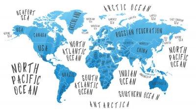 Nálepka Mapa Země s názvem zemí