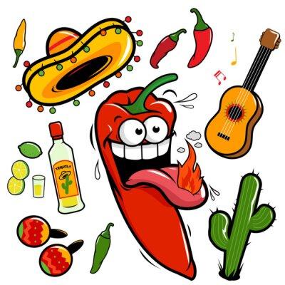 Nálepka Mariachi chili pepper Mexican icon collection.