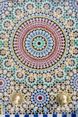 Nálepka Marockém stylu vodovodní voda s podrobnou mozaikou