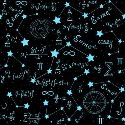 Nálepka Matematický astrofyzikální vektor bezešvé vzorec s vzorce, postavy a výpočty ručně psané na pozadí hvězd. Vědecká vesmírná nekonečná struktura