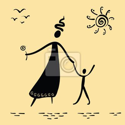 matka a syn chůzi slunečno