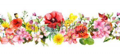 Nálepka Meadow flowers, wild grasses, leaves. Repeating summer horizontal border. Floral watercolor