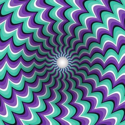 Nálepka Meandrující pásy trychtýř. Rotující díru. Motley pohybující se na pozadí. Optický klam ilustrační.
