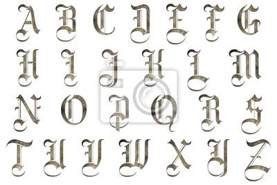 Nálepka medieval gothic alphabet collection