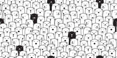 Nálepka Medvěd bezešvé vzor vektor lední medvěd plemeno šátek izolované kreslený obrázek dlaždice pozadí opakování tapety čmáranice