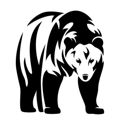 Nálepka medvěd černý a bílý design,