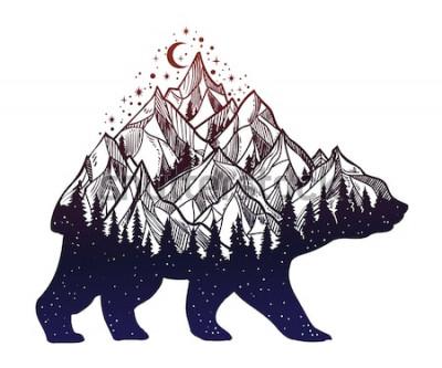 Nálepka Medvědí a noční lesní horská krajina, dvojitá expozice, divoké tetování, fantasy styl. Izolované vektorové ilustrace.
