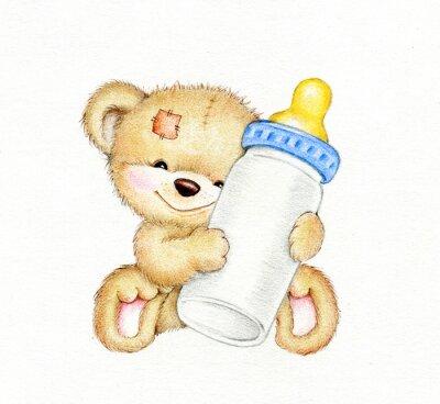 Nálepka Medvídek s láhev mléka