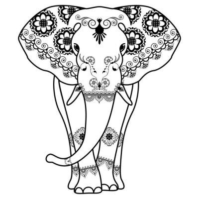 Nálepka Mehndi tetování Elephant zařízené v indickém stylu