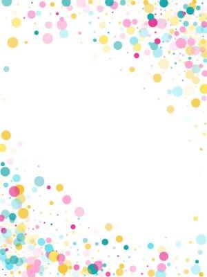 Nálepka Memphis kulaté konfety slavnostní pozadí v azurová modrá, růžová a žlutá. Dětinský vzor vektor.
