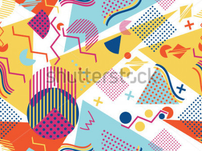 Nálepka Memphis seamless pattern. Geometric elements memphis in the style of 80's. Vector illustration.