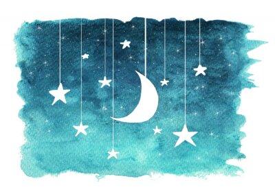 Nálepka Měsíc a hvězdy visí od strun namalovaných v akvarel na bílém izolované pozadí, pozadí noční oblohy