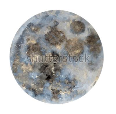 Nálepka Měsíc. Akvarel ilustrace