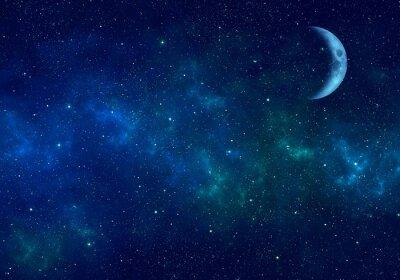 Nálepka Měsíc, mlhoviny a hvězdy v noční obloze. Místo na pozadí.