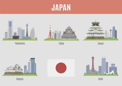 Nálepka Města v Japonsku
