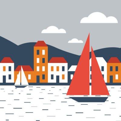 Nálepka Město u moře