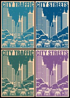 Nálepka městských ulic retro plakáty