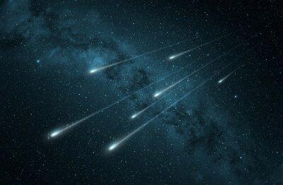 Nálepka meteorického roje v hvězdnaté noční obloze
