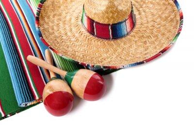 Nálepka Mexické deka a sombrero