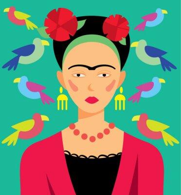 Nálepka Mexické žena v make-upu, vektorové ilustrace. Kreslené postavy.