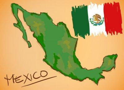 Nálepka Mexico Mapa a národní vlajka Vector