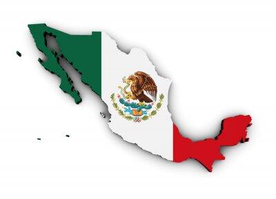 Nálepka Mexiko Mapa Vlajka