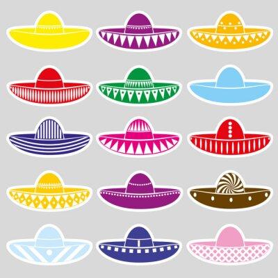 Nálepka Mexiko sombrero klobouk variace samolepky set eps10