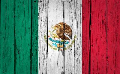 Nálepka Mexiko vlajka Grunge pozadí
