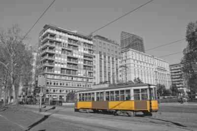 Nálepka Milano e tramvaj v lombardia Italia Milán a vlak v Milán Itálie