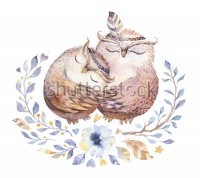 Nálepka Miluji tě. Krásný akvarel ilustrace s sladké sovy, srdce a květiny v úžasné barvy. Ohromující romantický Valentýn karty vyrobené v akvarel technice. Světlé Valentines izolované design