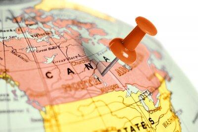 Nálepka Místo Canada. Red pin na mapě.
