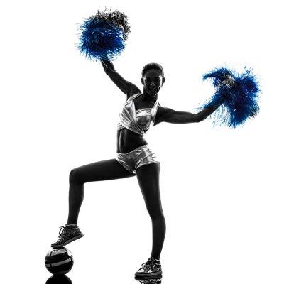 Nálepka Mladá žena roztleskávačka cheerleading silueta