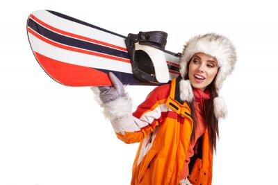 Nálepka Mladá žena s snowboard na bílém