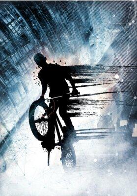 Nálepka Mladý muž na kole jumper. Zdravý životní styl.