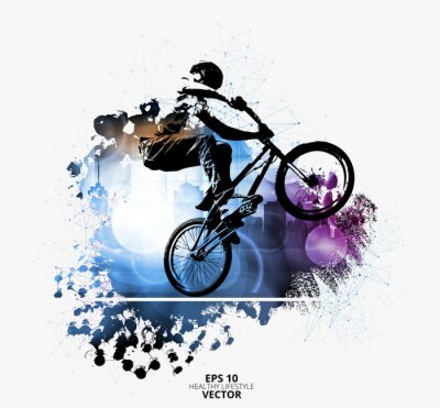 Nálepka Mladý muž na kole. Zdravý životní styl. Vektor