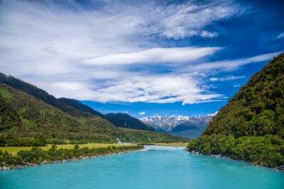Nálepka Mléčně modré ledové vody z řeky Whataroa na Novém Zélandu