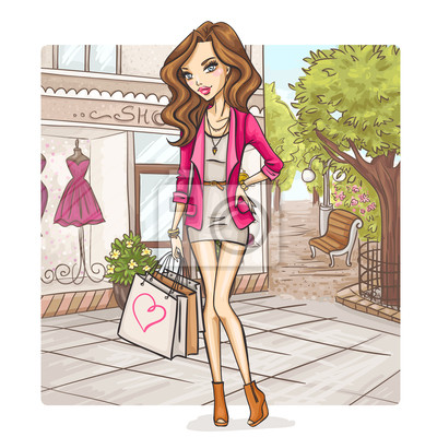 Nálepka Móda dívka na nákupy