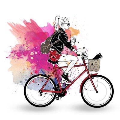 Nálepka Móda dívka v náčrtu stylu na barevné pozadí.
