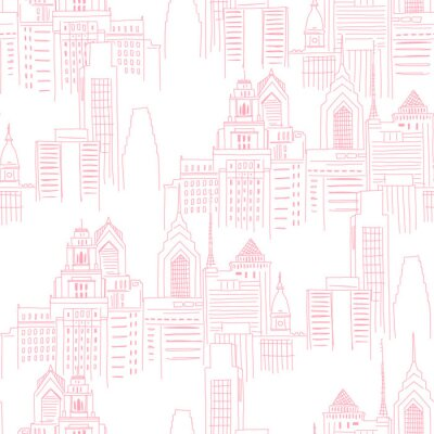 Nálepka Modern New York city scape in pink colour. Girlish Superhero themed neutral seamless pattern. Vector doodle graphics. Perfect for little girl design like t-shirt textile fabric print birtday party