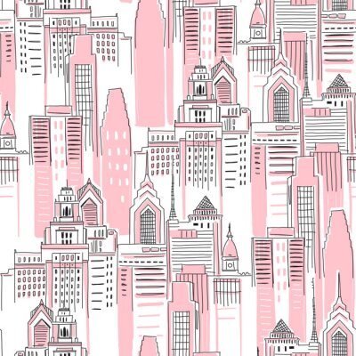 Nálepka Modern New York city scape in pink colour. Girlish Superhero themed seamless pattern. Vector doodle graphics. Perfect for little girl design like t-shirt textile fabric print birtday party wrapping