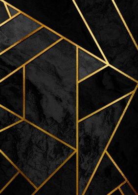 Nálepka Moderní a stylový abstraktní designový plakát se zlatými čarami a černým geometrickým vzorem.