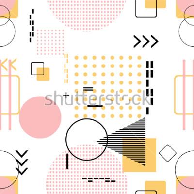 Nálepka Moderní bezešvé, Memphis styl s geometrickým vzorem, vektorové ilustrace s geometrickými obrazci. Návrh pozadí pozvání, brožura a propagace šablony.