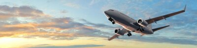 Nálepka Moderní cestující letu letounu v západu slunce panorama