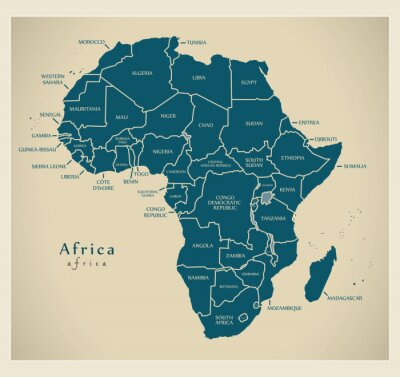 Nálepka Moderní Mapa - Afrika kontinent s popisky zemí