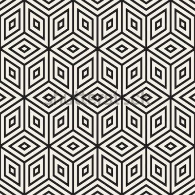 Nálepka Módní monochromatické linie mříže. Pozadí abstraktní geometrické pozadí. Vektorové bezešvé černé a bílé vzor.