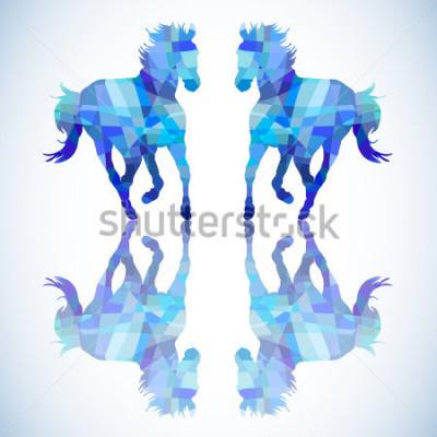 Nálepka Modrá abstraktníní kůň geometrických tvarů