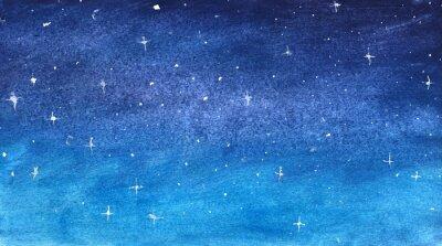 Nálepka Modrá hvězdná obloha v akvarelu