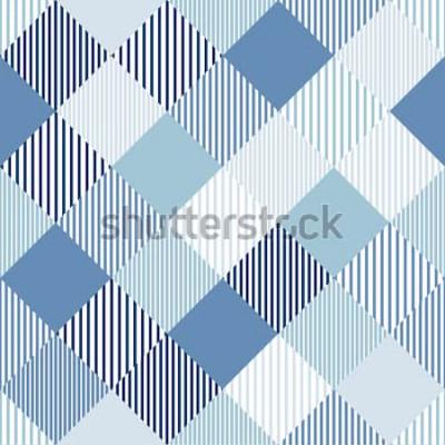 Nálepka Modré a bílé abstraktní jednoduché checker pruhované geometrický vzor bezešvé, vektor