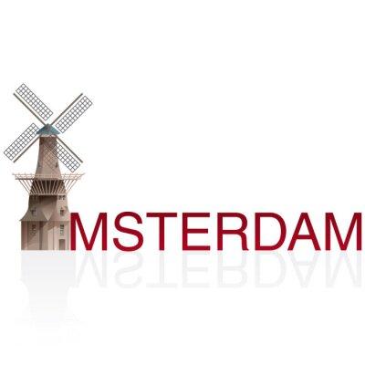 Nálepka MOLEN DE GOOYER, Amsterdam. Vektory evropských monumentals měst.